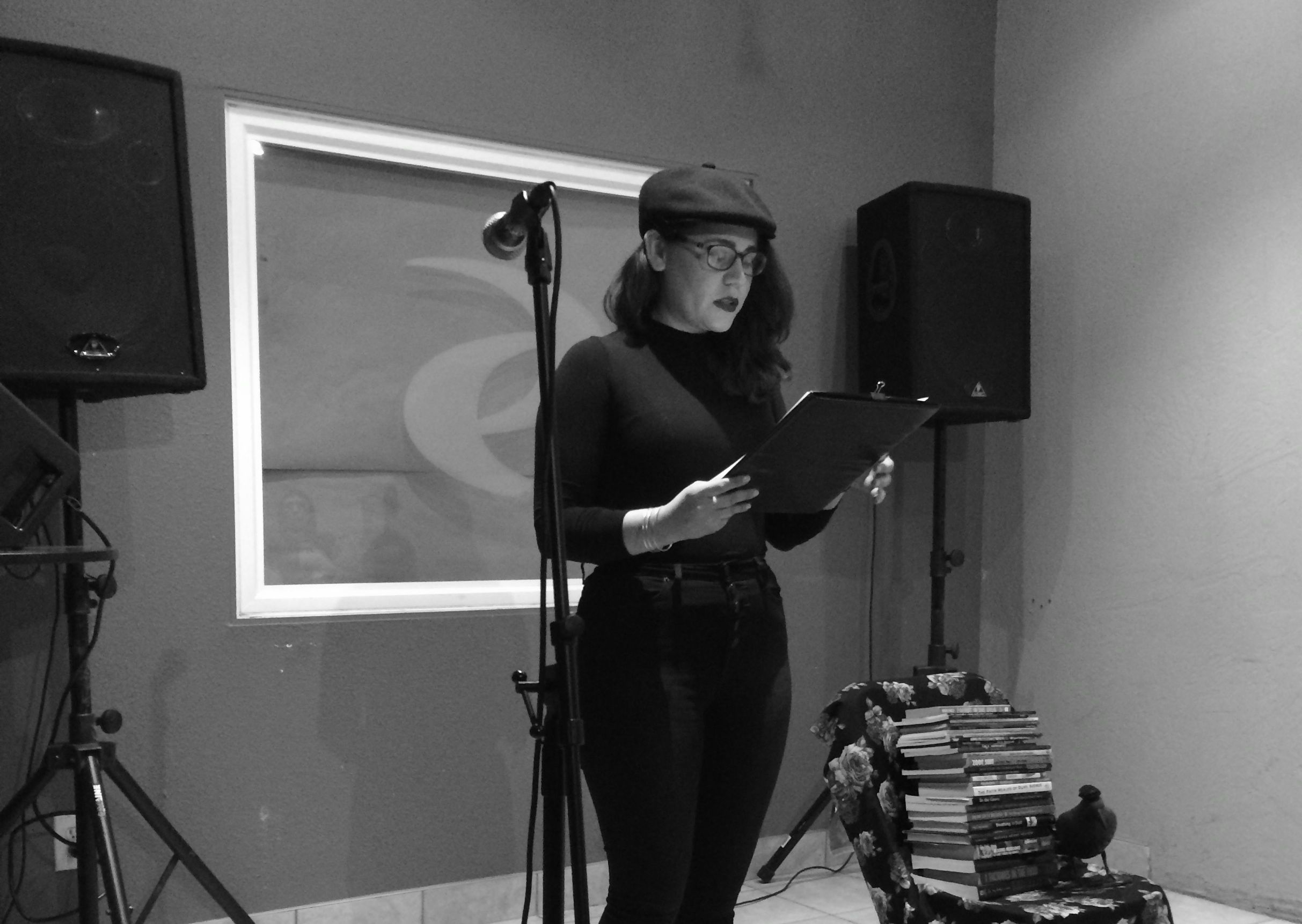 Mia reading at the Rogue Festival in Fresno's Tower District. March, 2015.