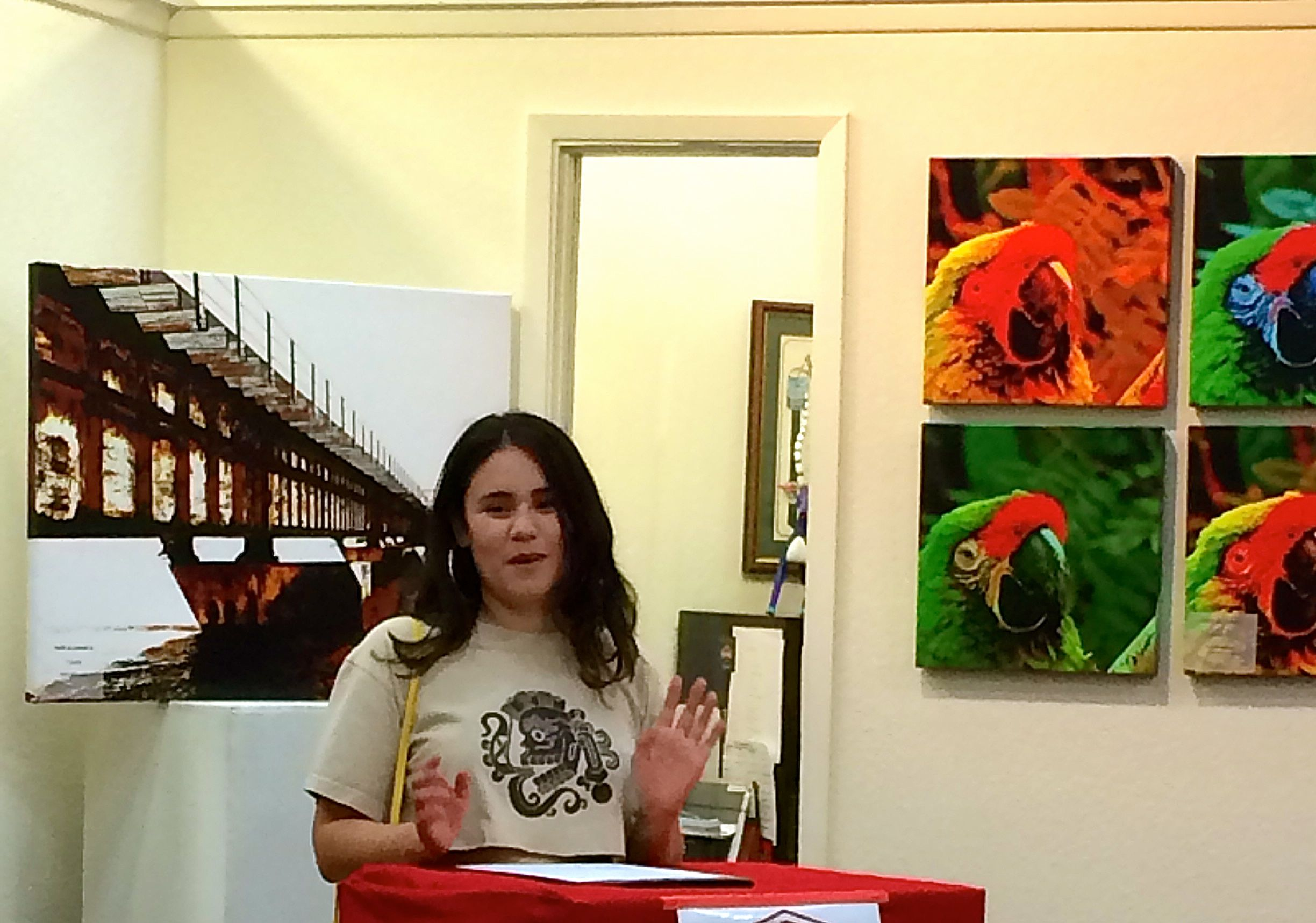 Mia at Fresno Poet Laureate Reading, June 2015.