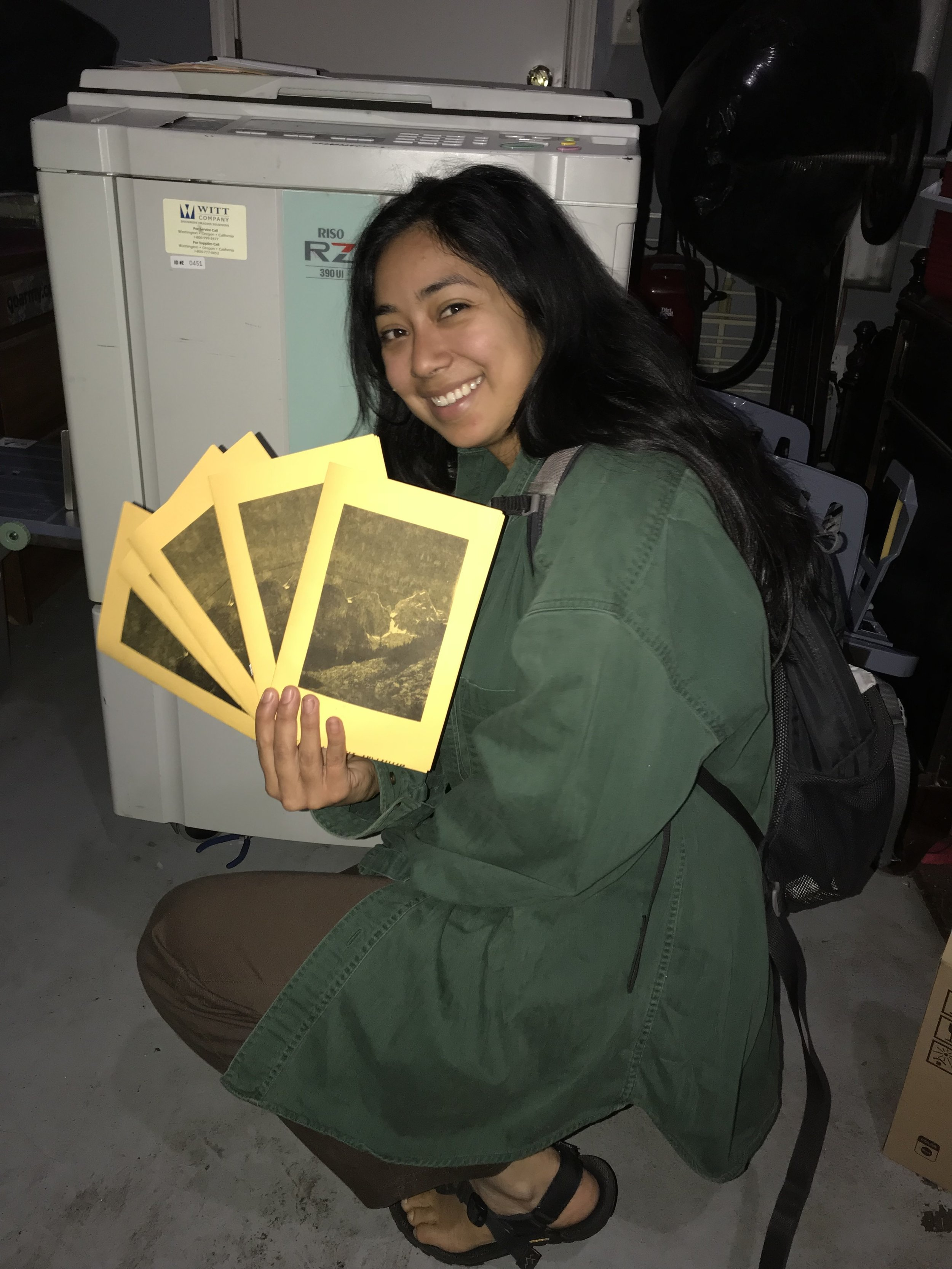 First customer: Our friend Bree came down from Yosemite to print her first zine.