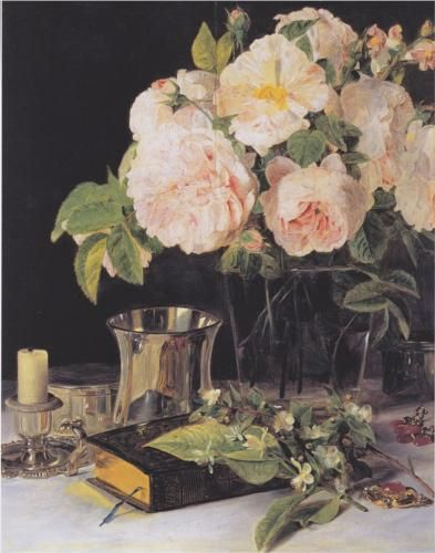 Roses in a Glass.  Ferdinand Georg Waldmüller.