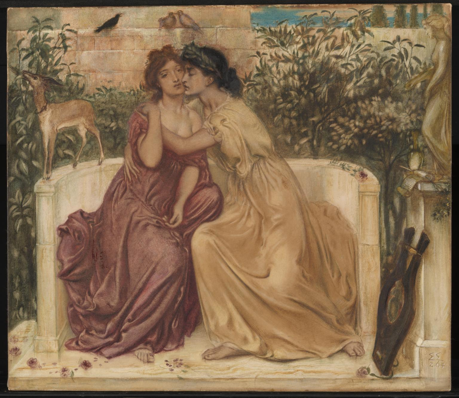 [ Sappho and Erinna in a Garden at Mytilene  (1864) by  Simeon Solomon ] This painting depicts Sappho embracing her fellow poet Erinna in a garden at Mytilene on the island of Lesbos