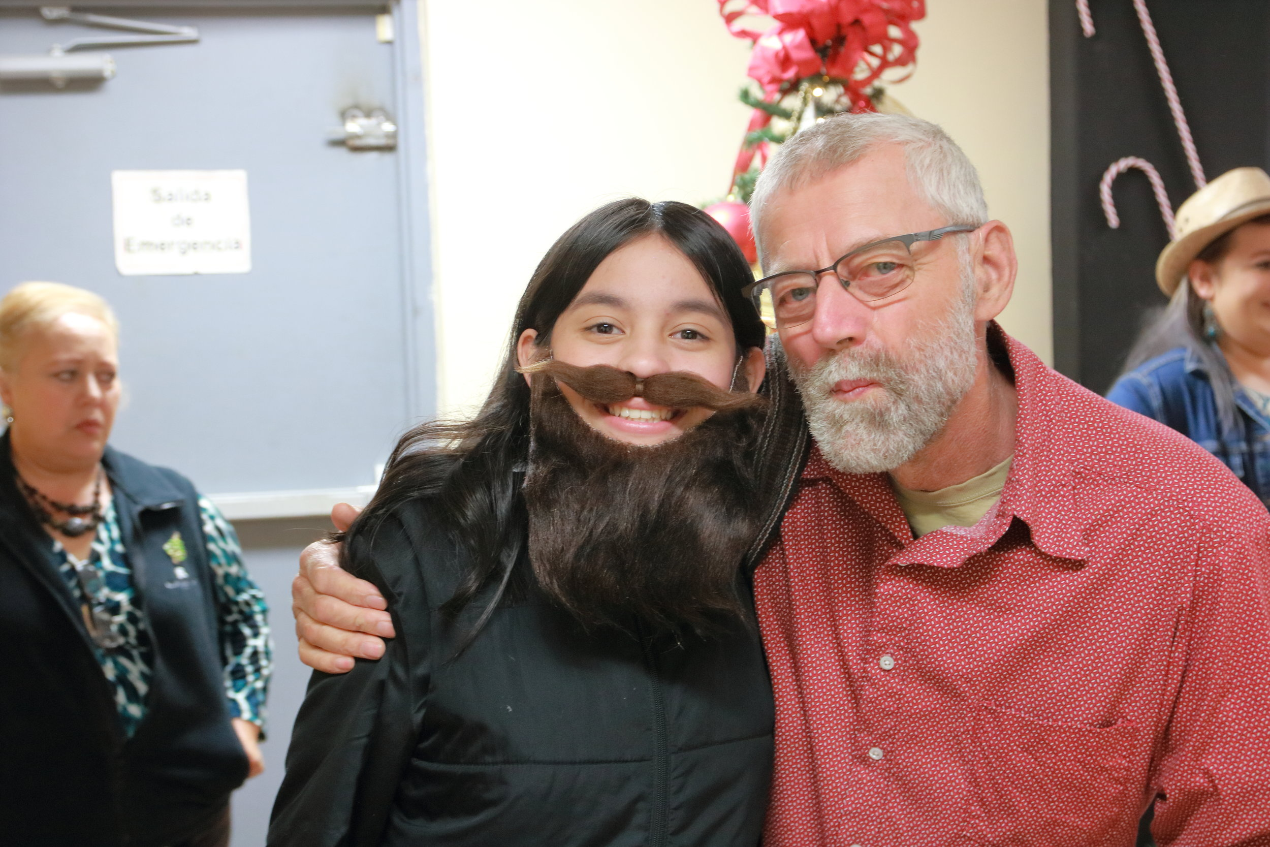 Who has the best beard? - This young lady is getting ready for a Christmas play.