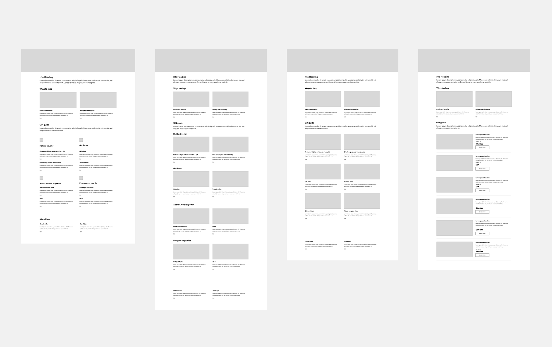 Wireframes exploring possible layouts for gift guide page