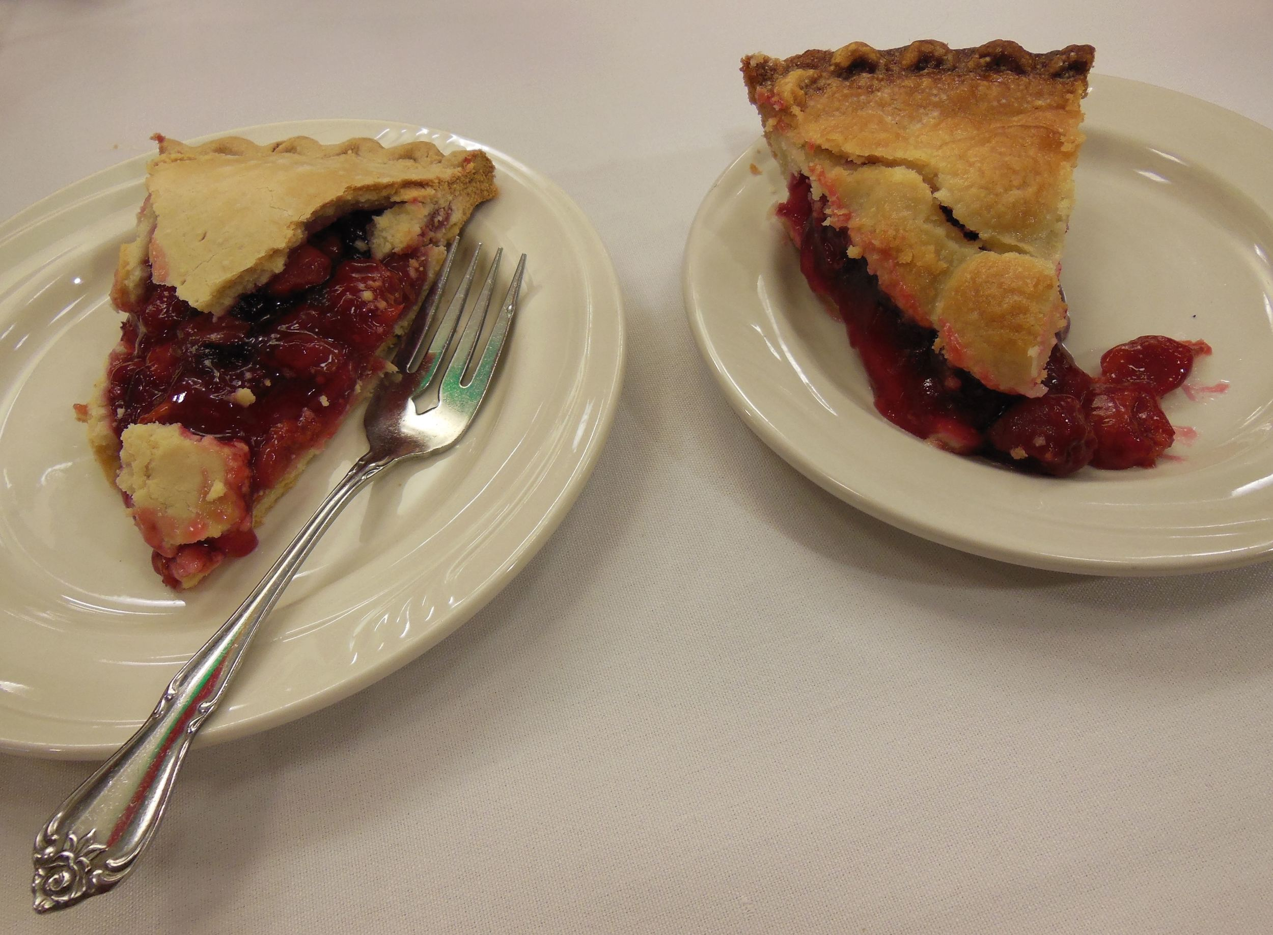 We tested these two cherry pies: sugar free on the left, regular cherry pie on the right.