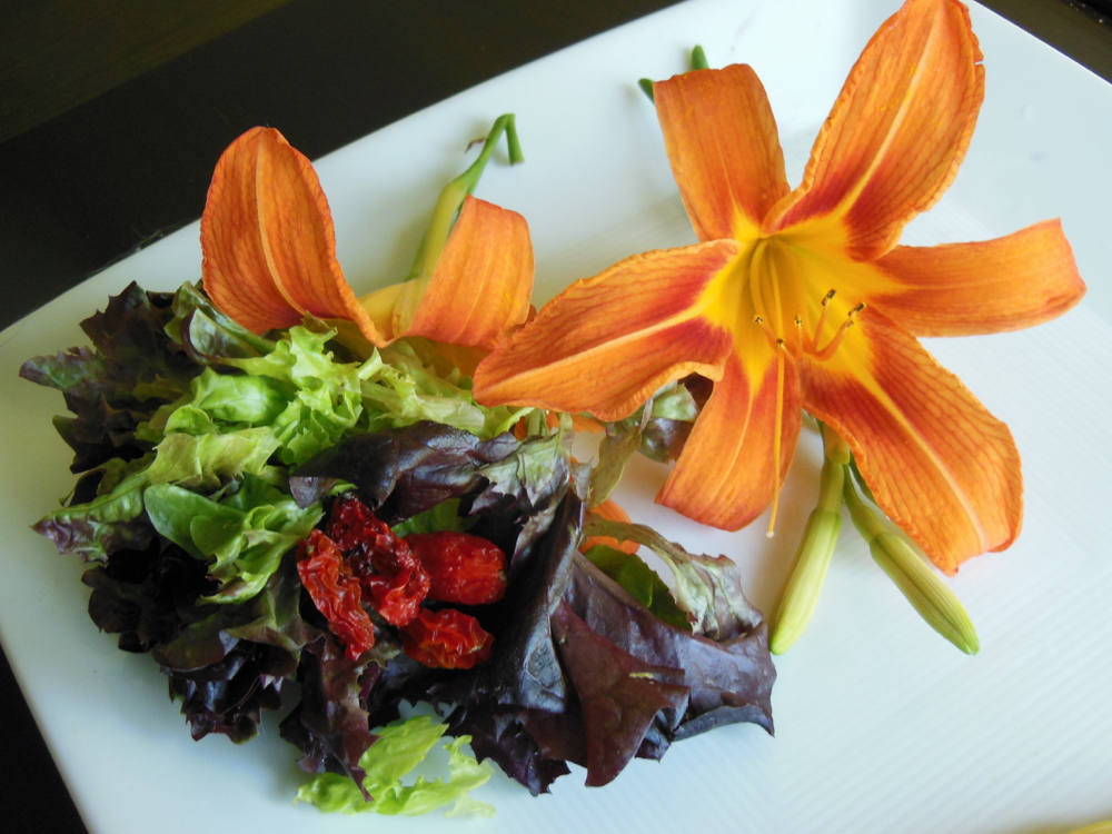 Orange daylilies make a pretty garnish and are entirely edible.