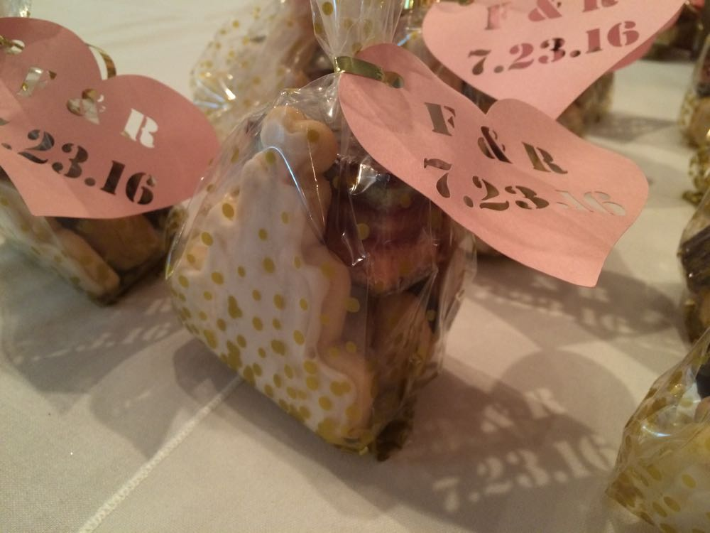 Homemade cookies packaged for a July 23, 2016 wedding rehearsal dinner.