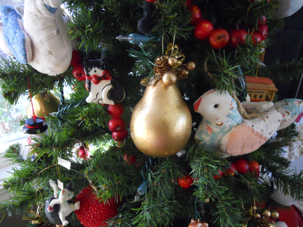 My 5-foot artificial Christmas tree now is covered in food-related ornaments.