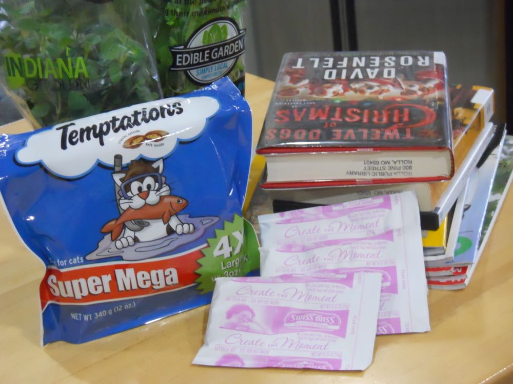 Must haves for a Missouri ice storm include fresh herbs, cat treats, hot chocolate and books.
