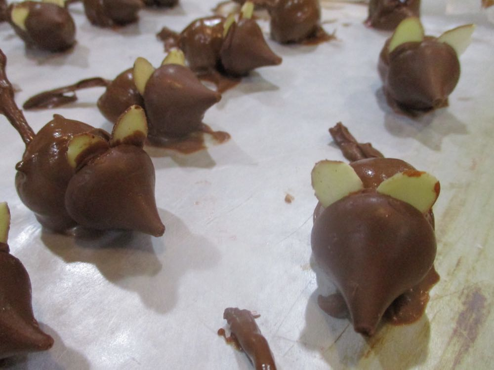 Chocolate mice close up include Almond slivers for ears.