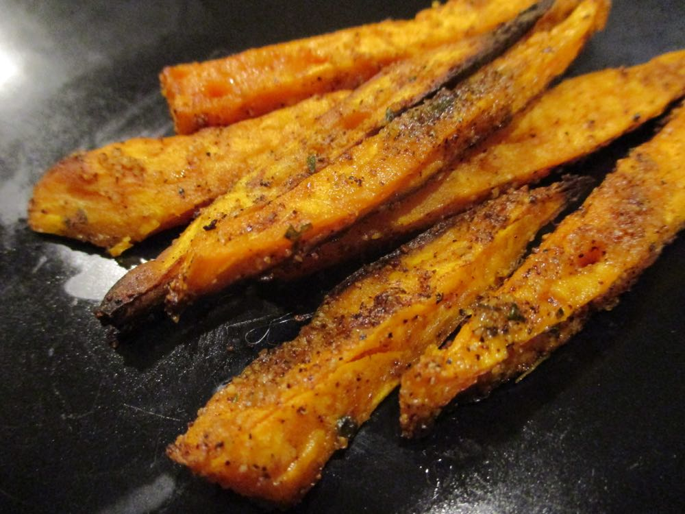 Baked sweet botato fries are best served about 5 minutes after they come out of oven and cool.