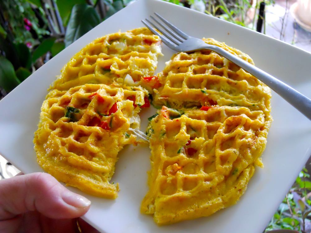 Egg omelet right out of the waffle iron and ready to eat. I freeze half for another meal.