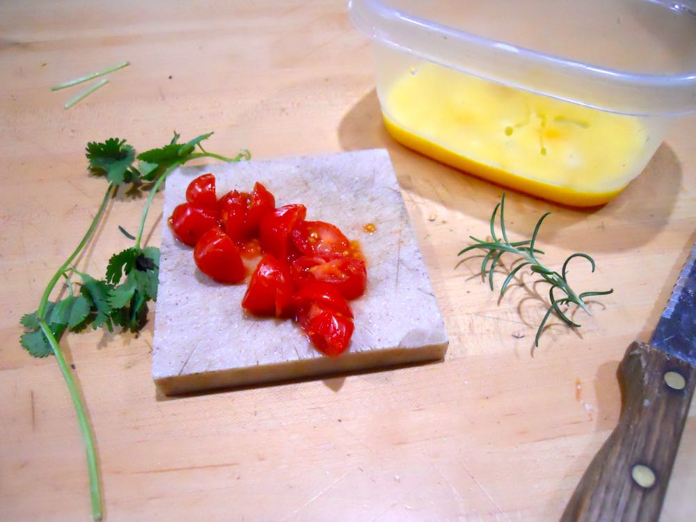 Eggs can have a lot of things added included old cherry tomatoes and fresh herbs.