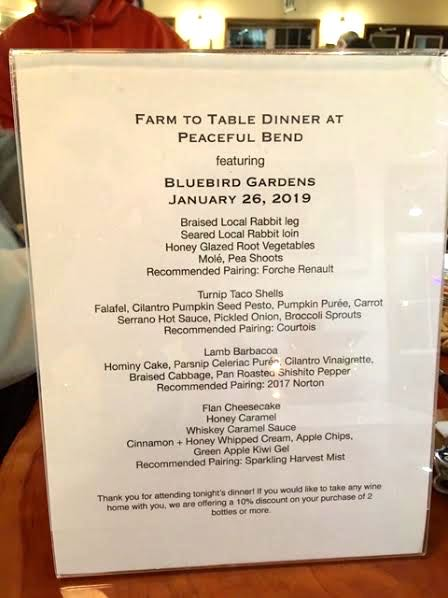 Bluebird Gardens Honey was featured in this January 26, 2019 Peaceful Bend Winery Supper Club dinner. (Photo by Charlotte Ekker Wiggins)