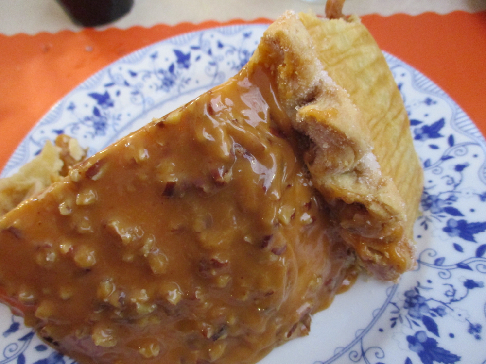 The caramel cover to levee high apple pie. (Photo by Charlotte Ekker Wiggins)