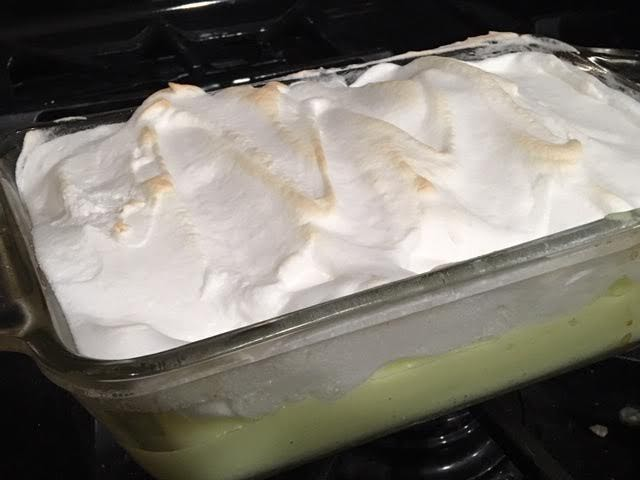 A glass bread pan nicely holds the pie filing to bake the meringue. (Photo by Charlotte Ekker Wiggins)
