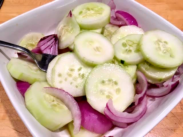 Today's cucumber, red onion and vinegar summer salad. (Photo by Charlotte Ekker Wiggins)