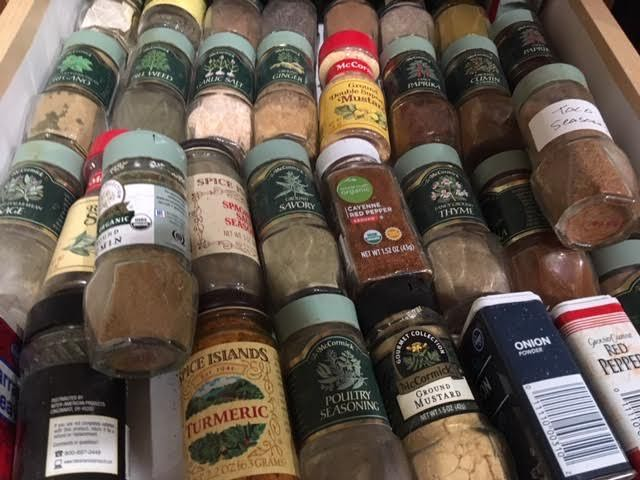 My spice drawer mid-year, not bad. So far. (Photo by Charlotte Ekker Wiggins)