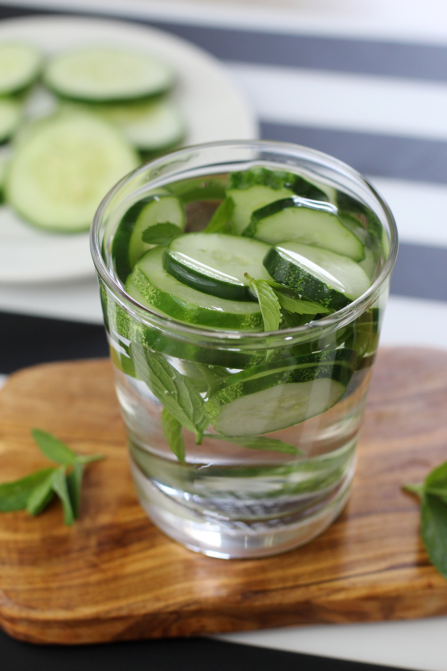 A refreshing summer drink, cucumber mint infused water.