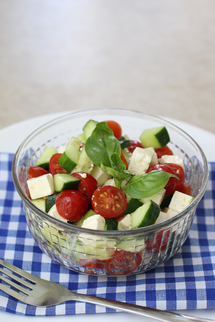 Use garden cucumbers and cherry tomatoes for a juicy greek salad!