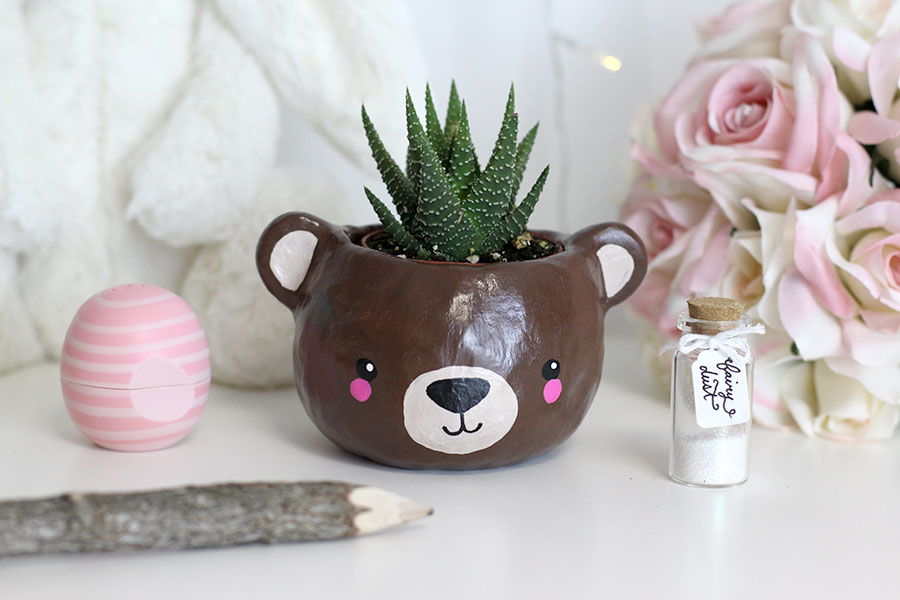 Animal bear head polymer clay planter, super cute.
