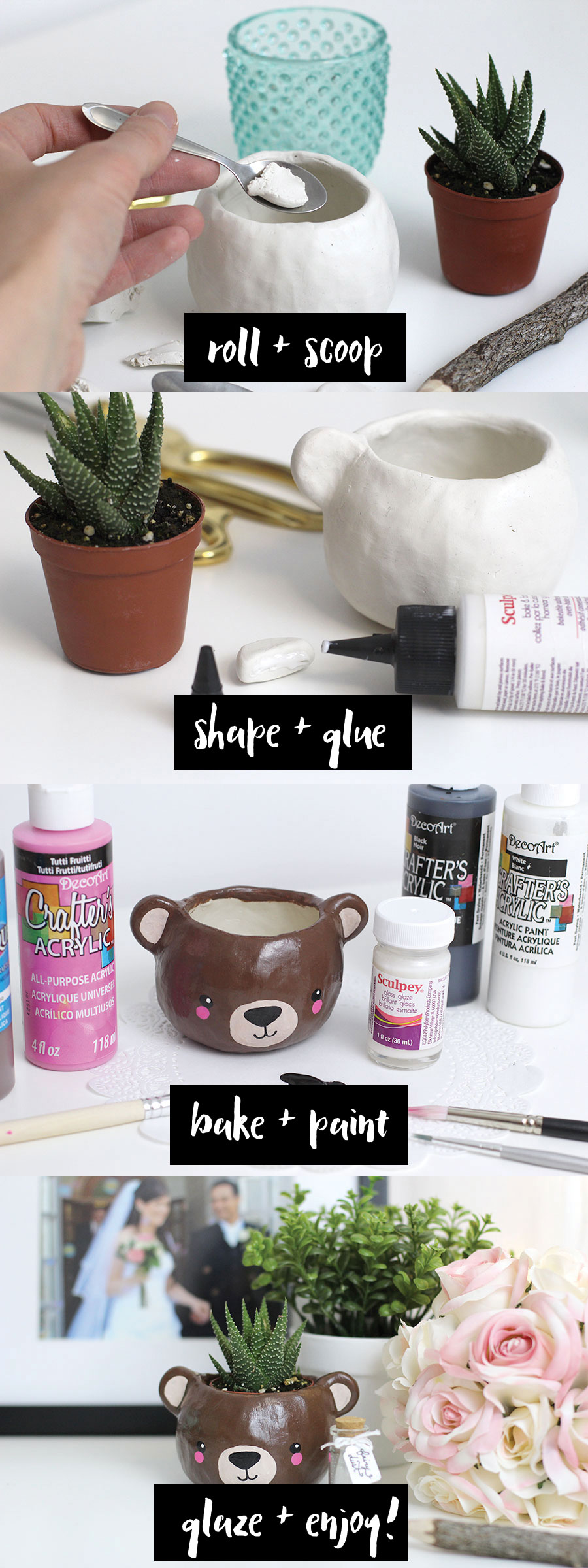 Instructions on how to make a small DIY succulent bear head planter with fimo clay. This is a really fun and quick craft. You can give it as a gift to a friend, sister, mom, daughter and you can also use it to decorate your room or office! It's super cute. Click through for tutorial.