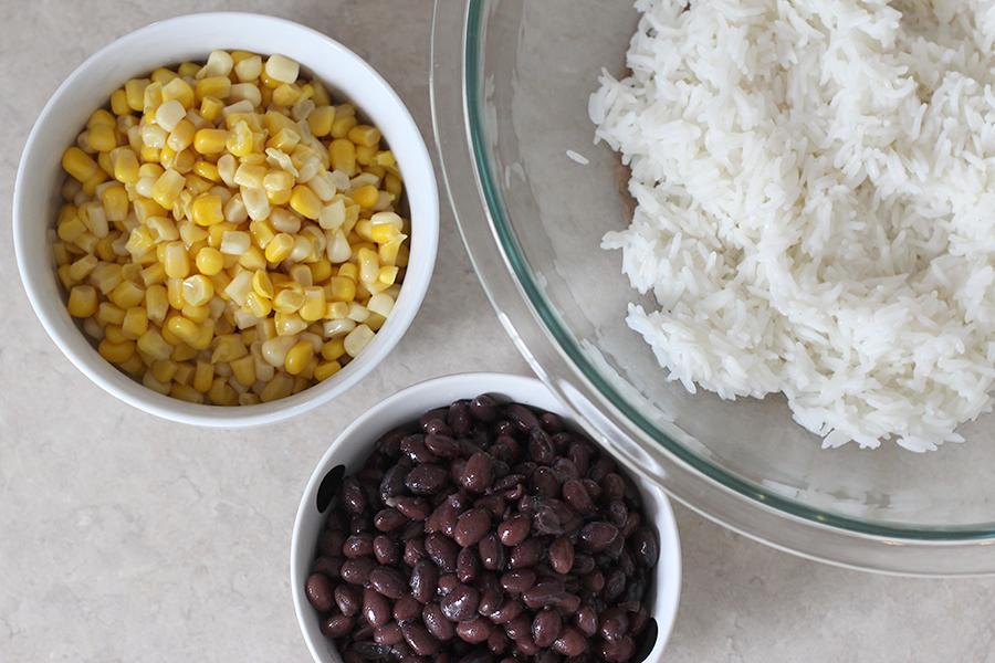 Rice, corn, beans.