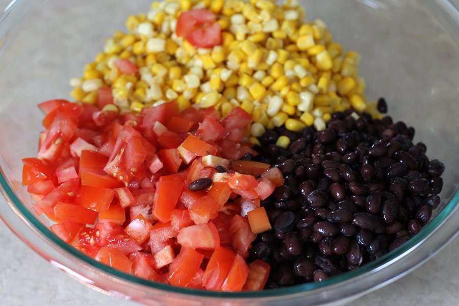 Corn,  tomatoes, beans.