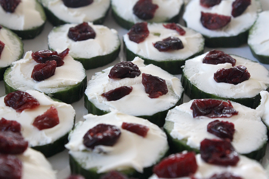 Cucumber cream cheese dried cranberries appetizer.