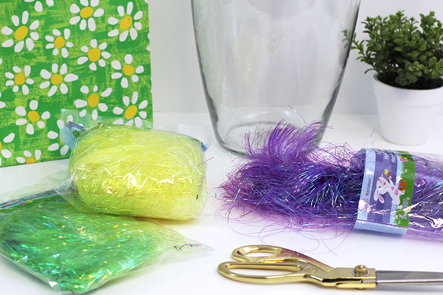 Materials to make your Easter table center decor.
