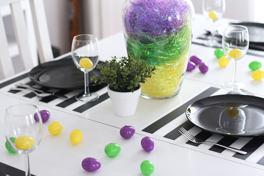 Add colored plastic eggs to decorate your Easter table.