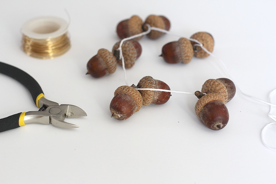 Tie the acorns together.