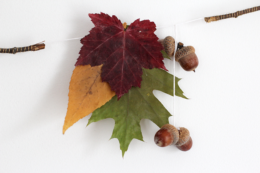 A sample leaf acorn branch combo of the fall garland.