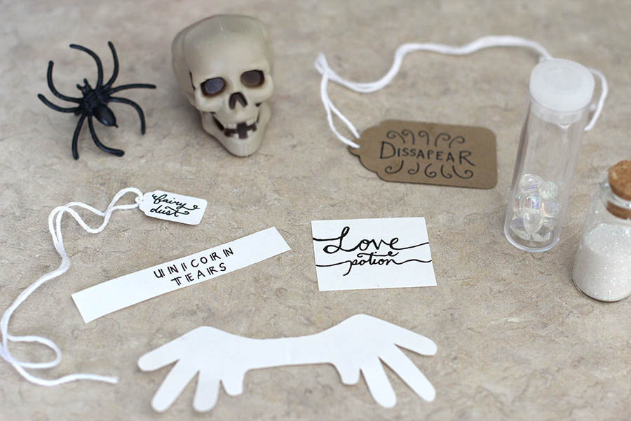 Make labels and props to decorate the bottles.