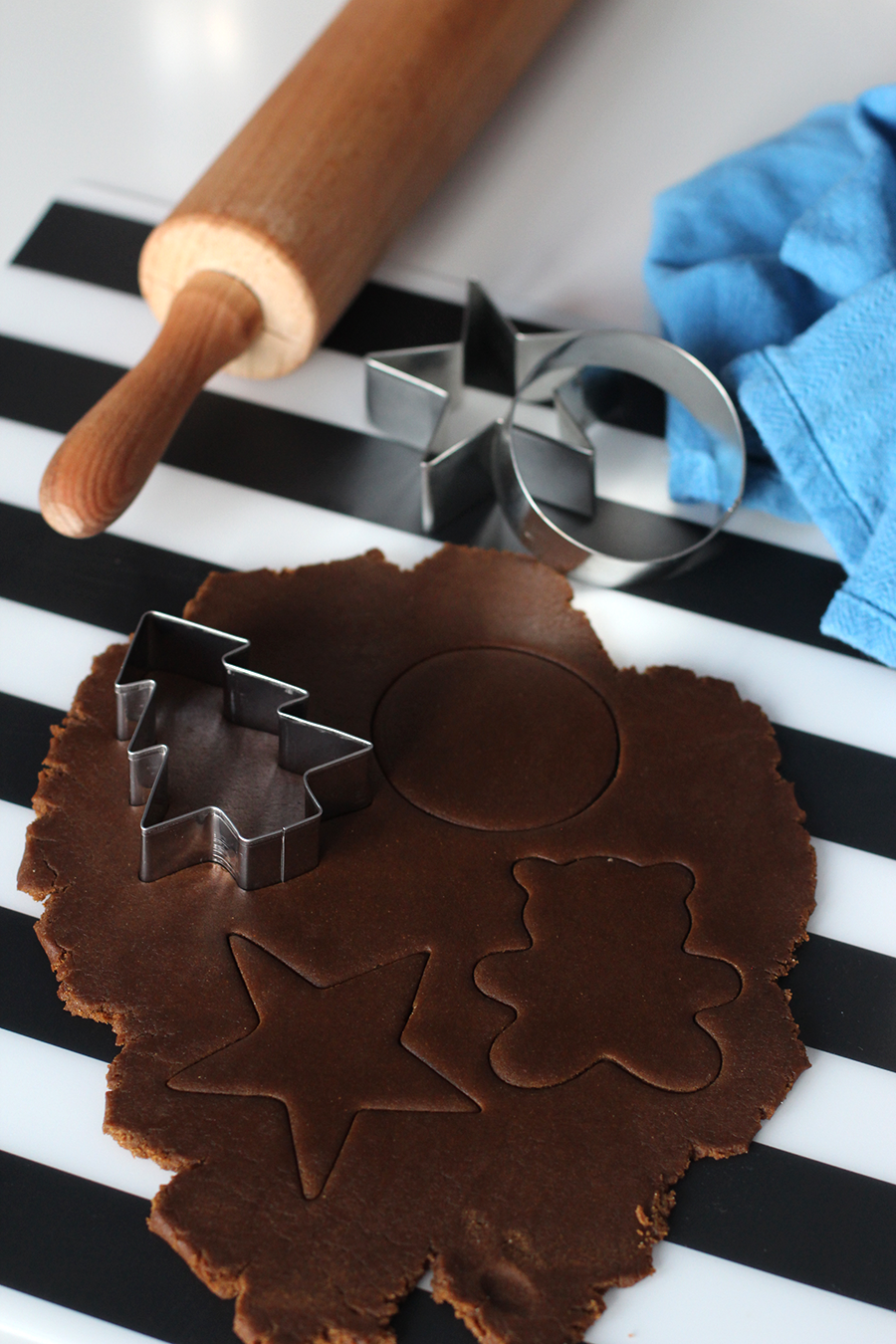 Roll the egg free gingerbread dough and cut shapes.