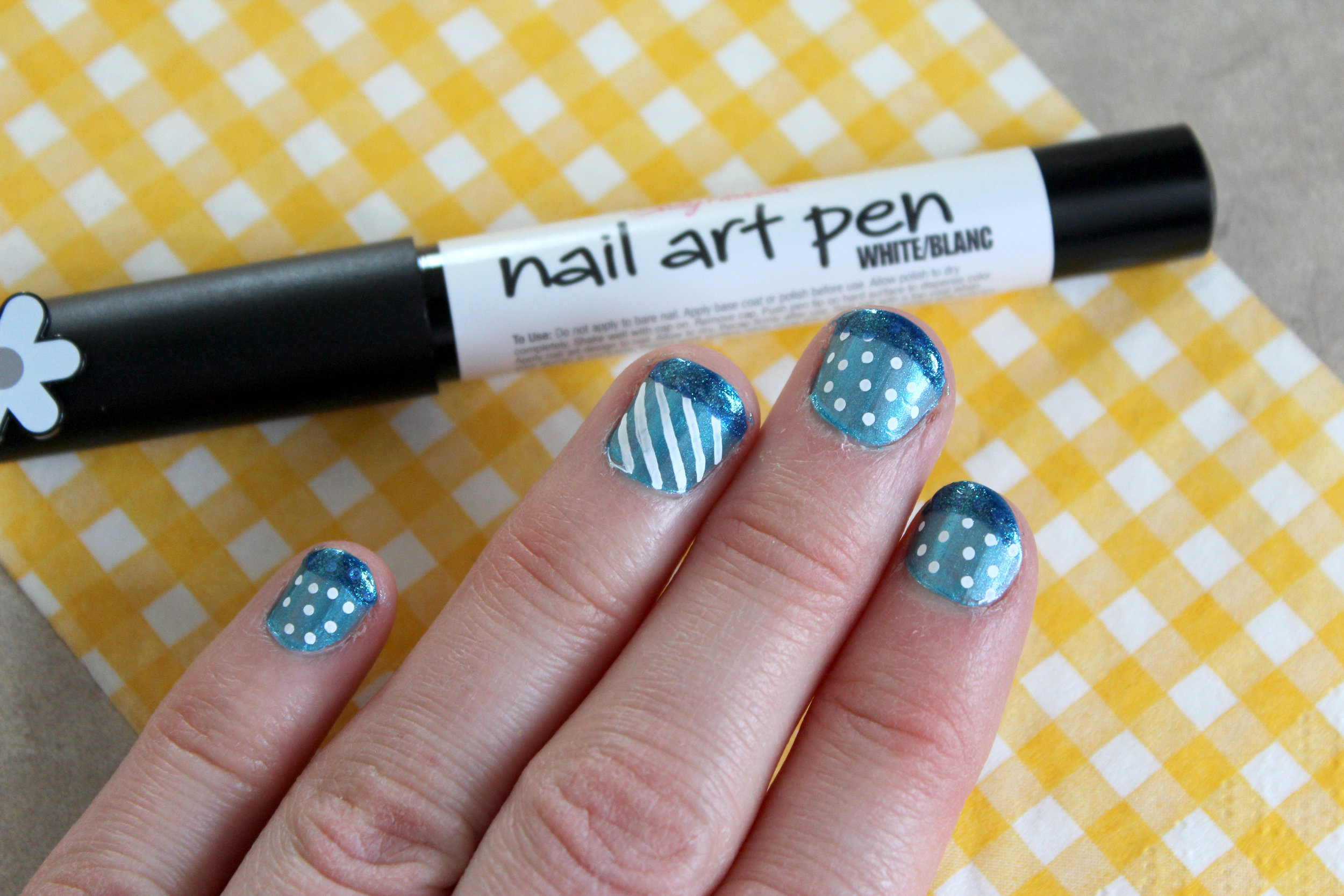 blue and white nail art stripes and dots.jpg