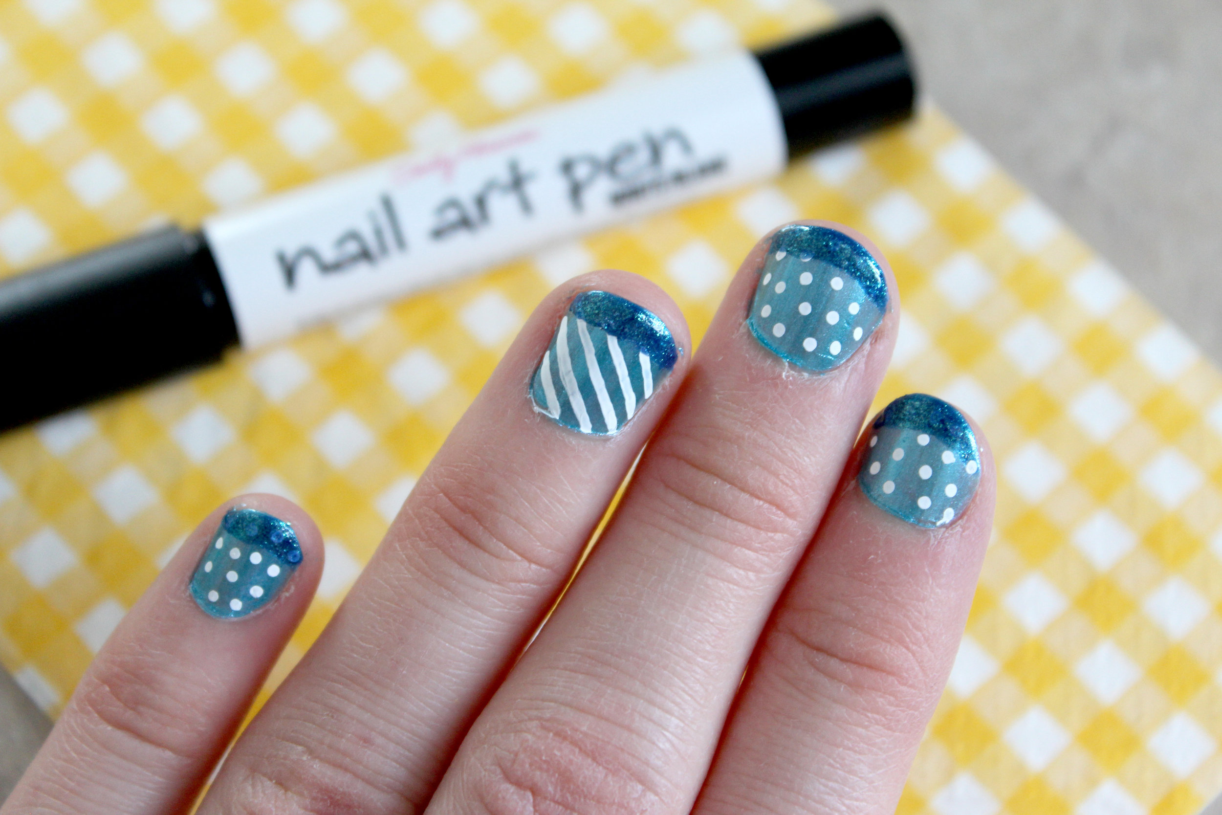 blue and white nail art stripes and dots 1.jpg