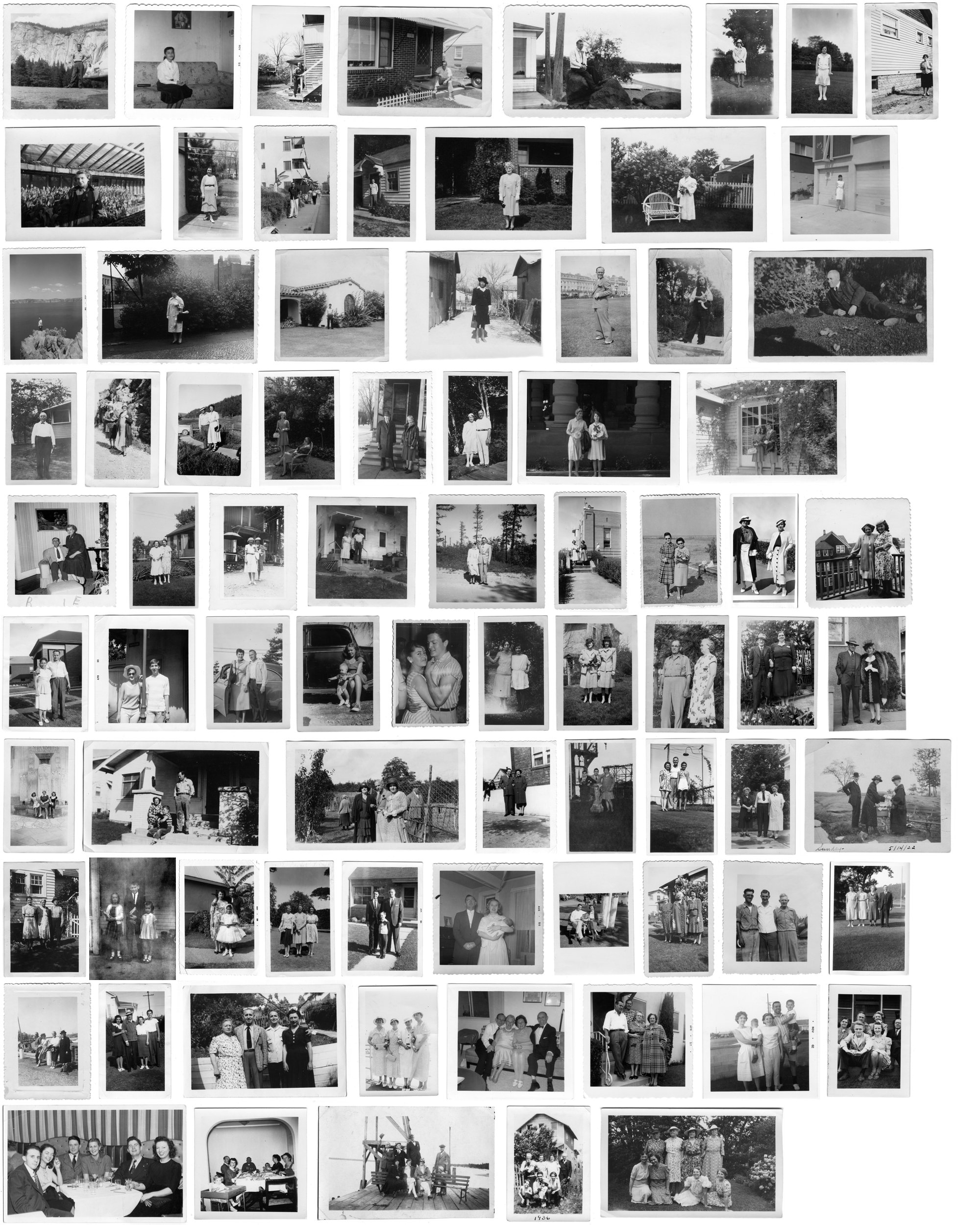 """Normal   0           false   false   false     EN-US   X-NONE   X-NONE                                                                         Example of  non-competitive photography . Montage of anonymous found family photographs from the collection  Look at Me  ( http://look-at-me.tumblr.com ). Thumbnails are displayed in ascending order according to the number of persons in the photographs starting from upper left corner. Vast majority of these images have no title and date. For this montage, I selected images that were tagged """"black and white"""" assuming that the largest part of such images most likely are from c. the 1950s and no later than the 1960s when color photography became commonplace."""