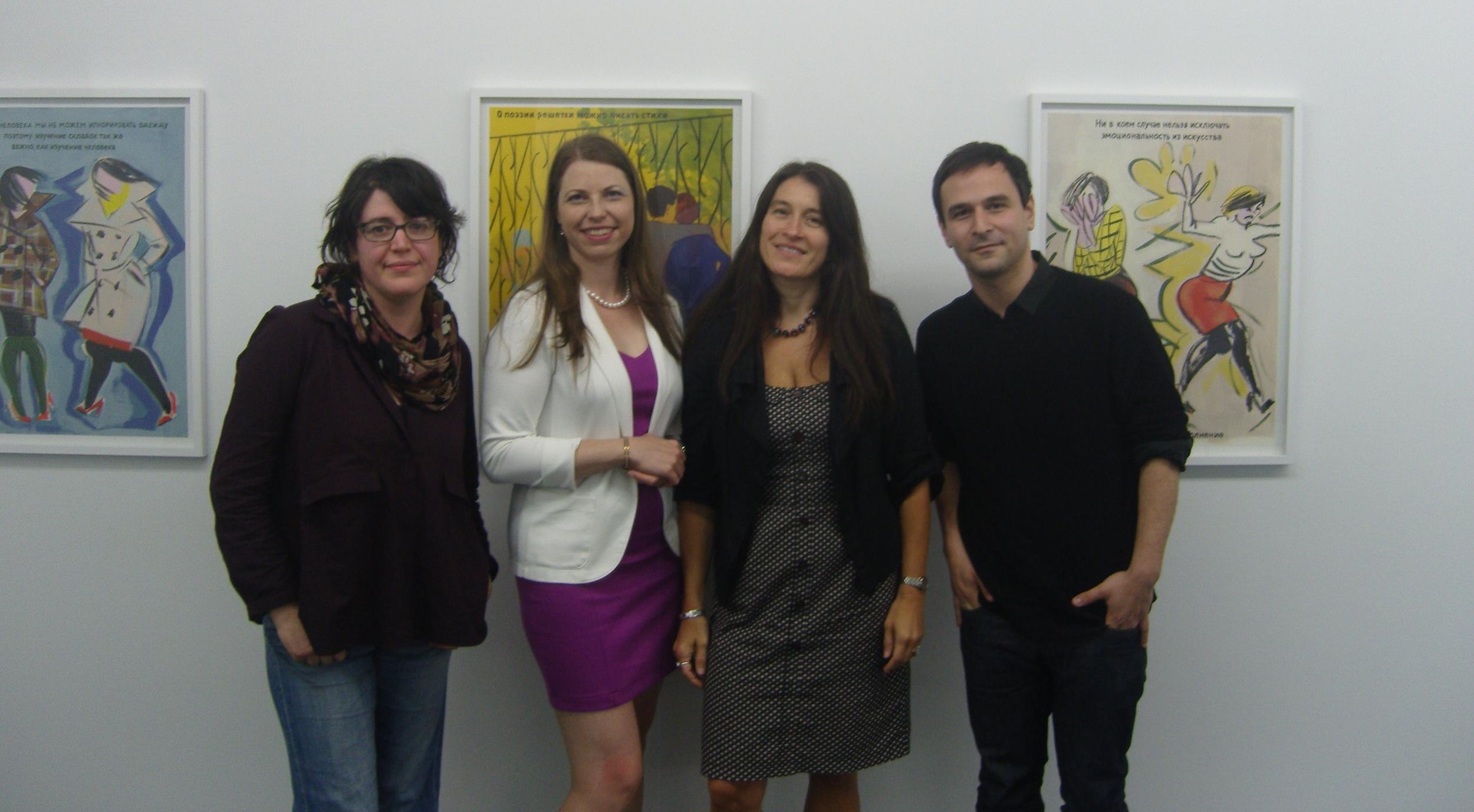 From left: Ella Kruglyanskaya, Alise Tifentale, Cristina Kiaer, and Sanya Kantarovsky in the exhibition  Little Vera.