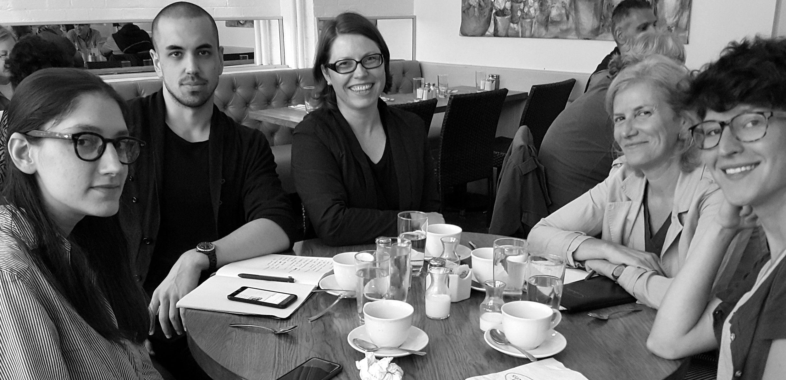 Conference organizers discussing the submissions. From left: Rachel Wetzler, Patryk Tomaszewski, Alise Tifentale, Dr. Romy Golan, and Patricia Manos. At Sarabeth's Tribeca, New York.