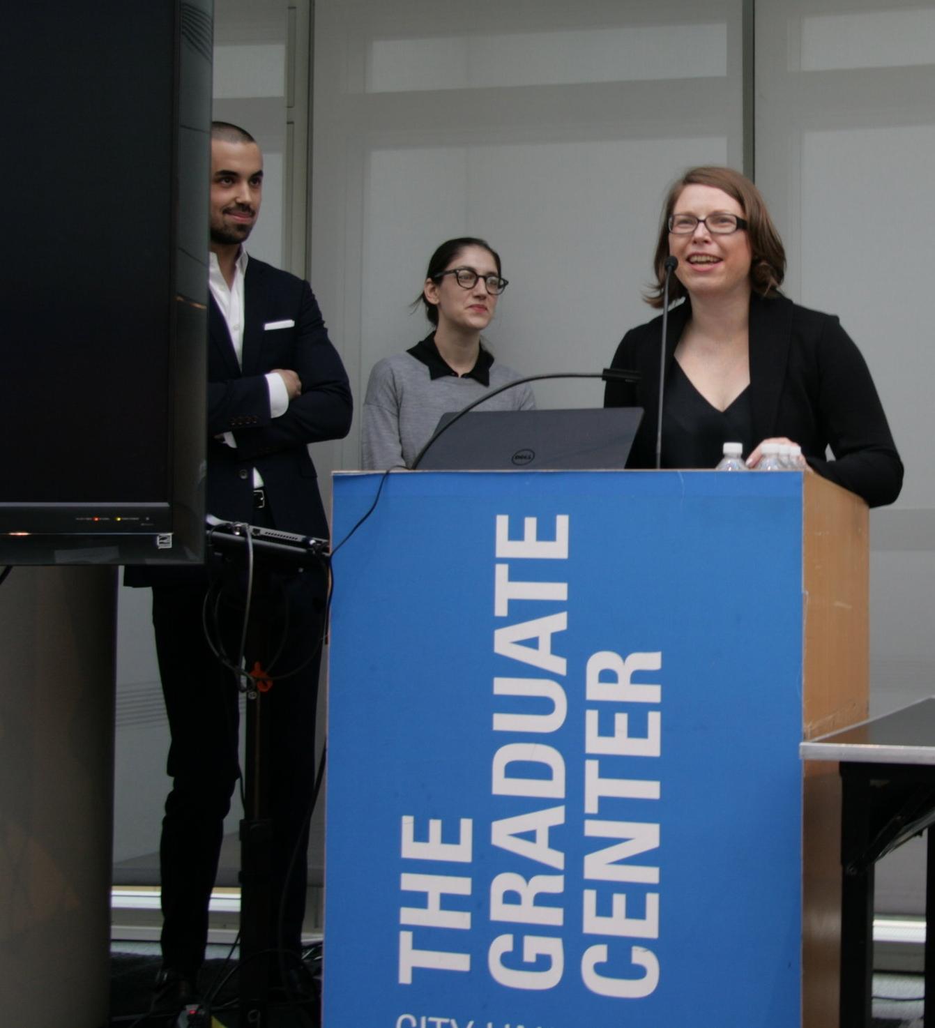 Opening remarks. From left: Patryk Tomaszewski, Rachel Wetzler, and Alise Tifentale. Photo: courtesy Barbora Bartunkova.