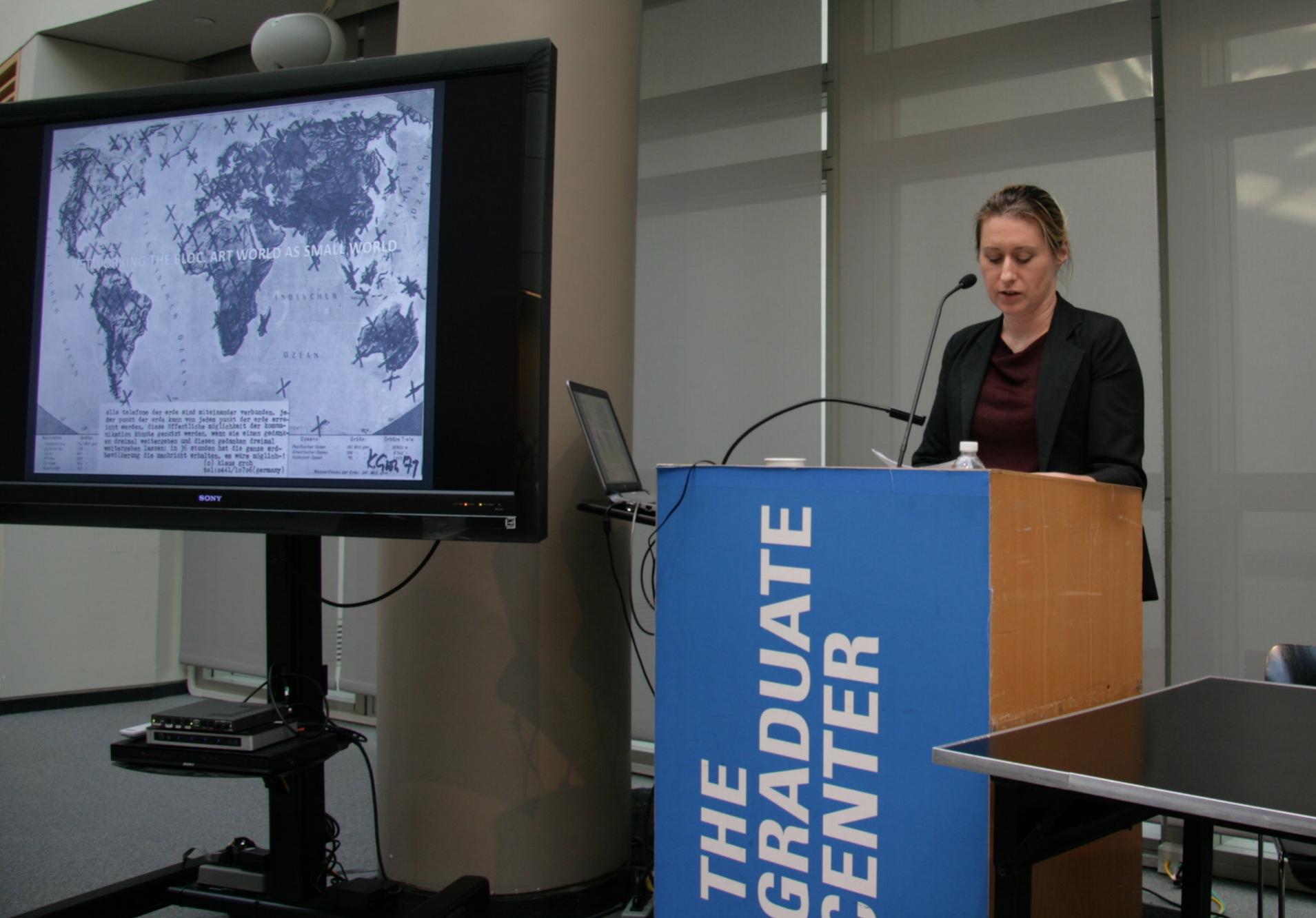 Klara Kemp-Welch delivers a keynote.