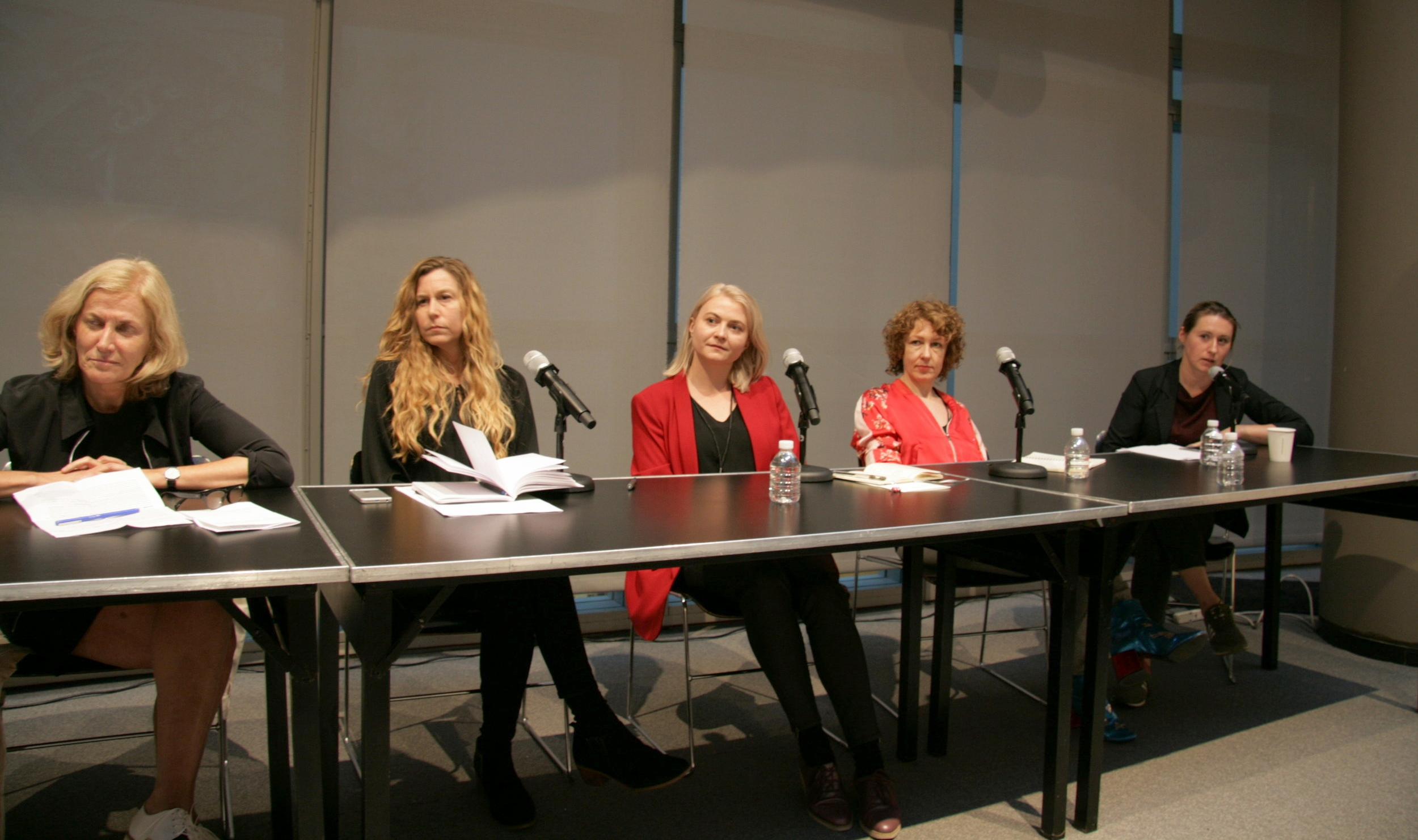 Closing panel discussion. From left: Romy Golan,Katherine Carl, Magdalena Moskalewicz, Claire Bishop, and Klara  Kemp-Welch.