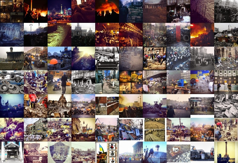 Montage of Instagram images depicting the barricades in Kyiv, 2014. See more images and analysis  on the project website .