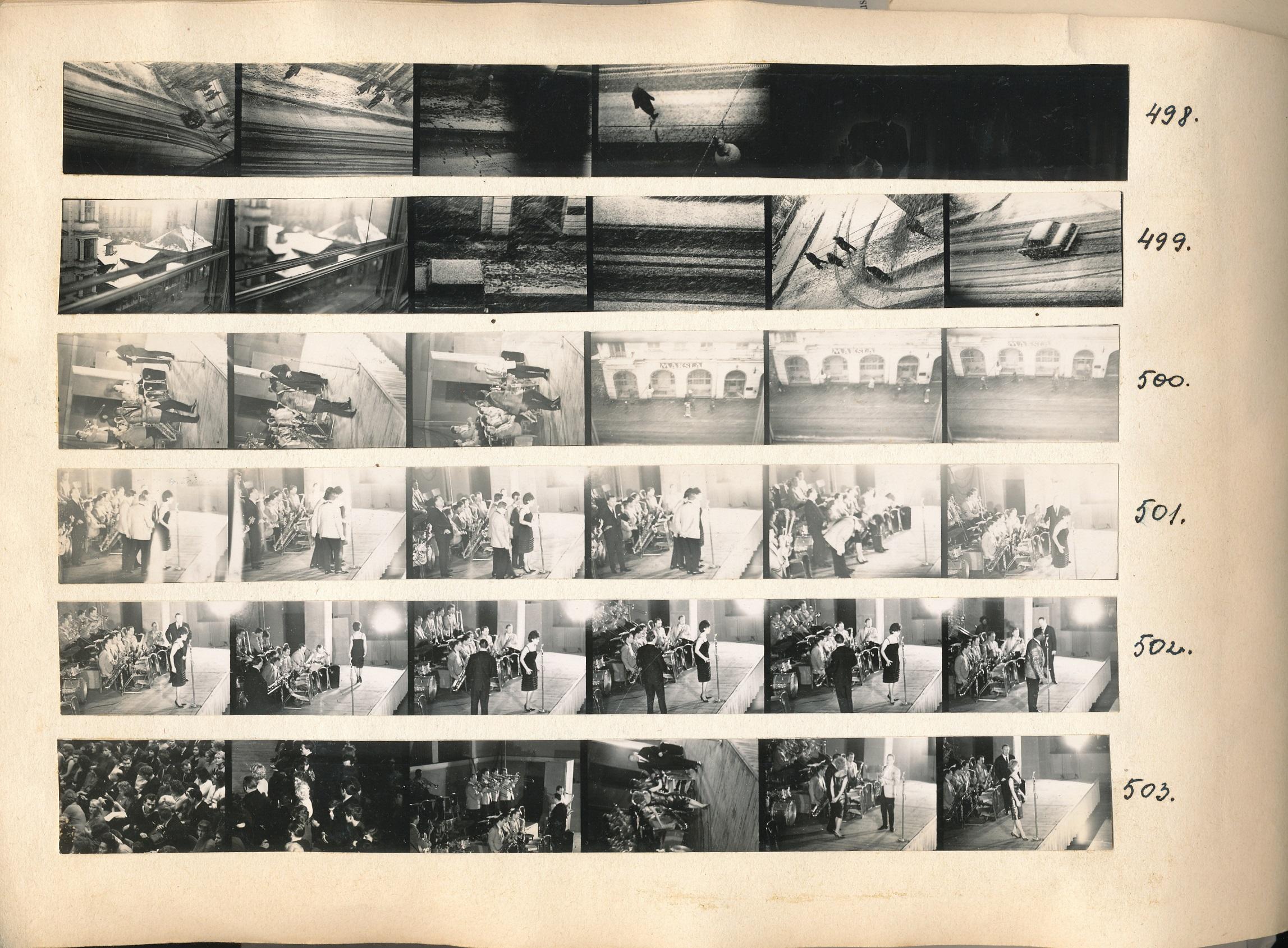 Page from contact sheet book by artist and photographer  Zenta Dzividzinska  (Latvian; 1944-2011).