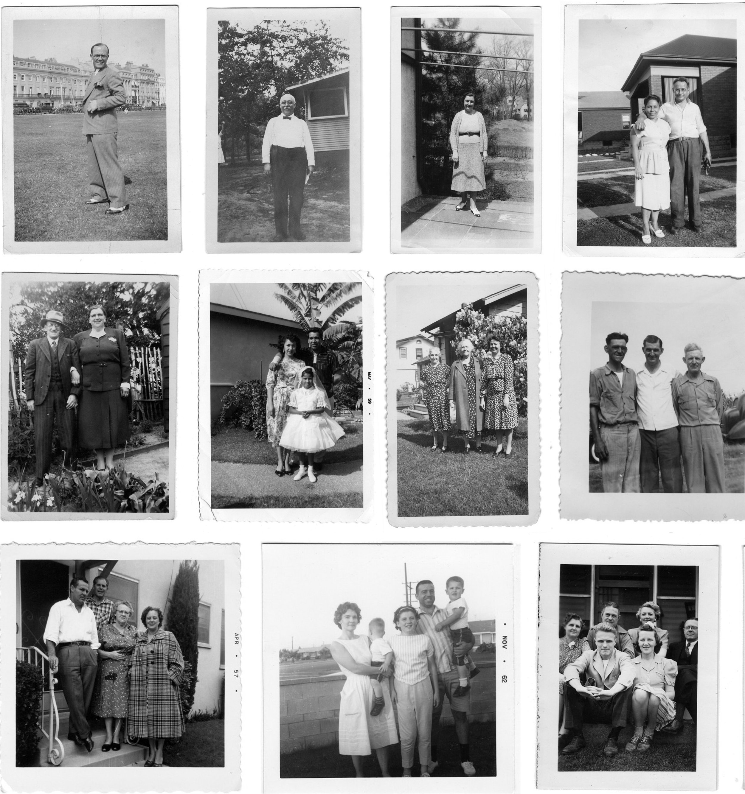 Example of non-competitive photography.  Montage of anonymous found family photographs from the collection  Look at Me  ( http://look-at-me.tumblr.com ). Detail. Thumbnails are displayed in ascending order according to the number of persons in the photographs starting from top left.