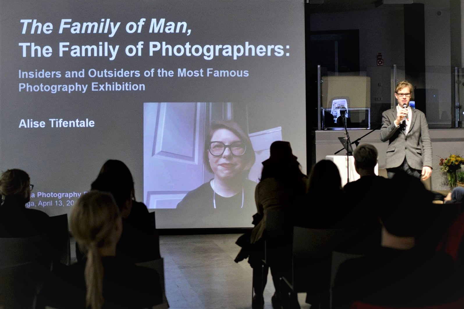 """Curator Indrek Grigor (to the left) introducing my talk. Symposium """"Now Memories,"""" part of the program of the Riga Photography Biennial 2018. April 13, 2018. Photo: Kristine Madjare. #rigaphotographybiennial2018 #LV100"""