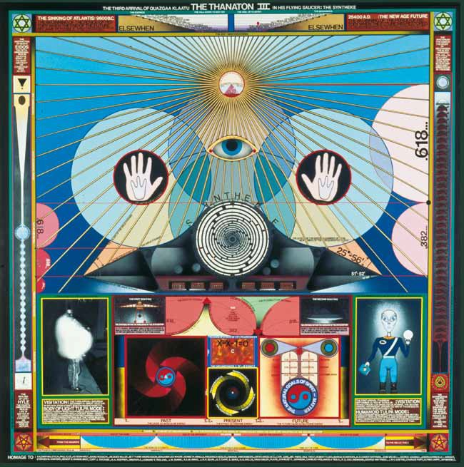 Paul Laffoley,  Thanaton III , 1989. Oil, acrylic, ink, lettering on canvas, 73 ½ x 73 ½ in. Courtesy of the artist and Kent Gallery, New York (NY). Collection Richard Metzger and Tara McGinley, Los Angeles (CA).
