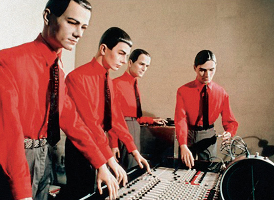 Humanoid robots representing the members of Kraftwerk, pioneers of electronic music. 1977.
