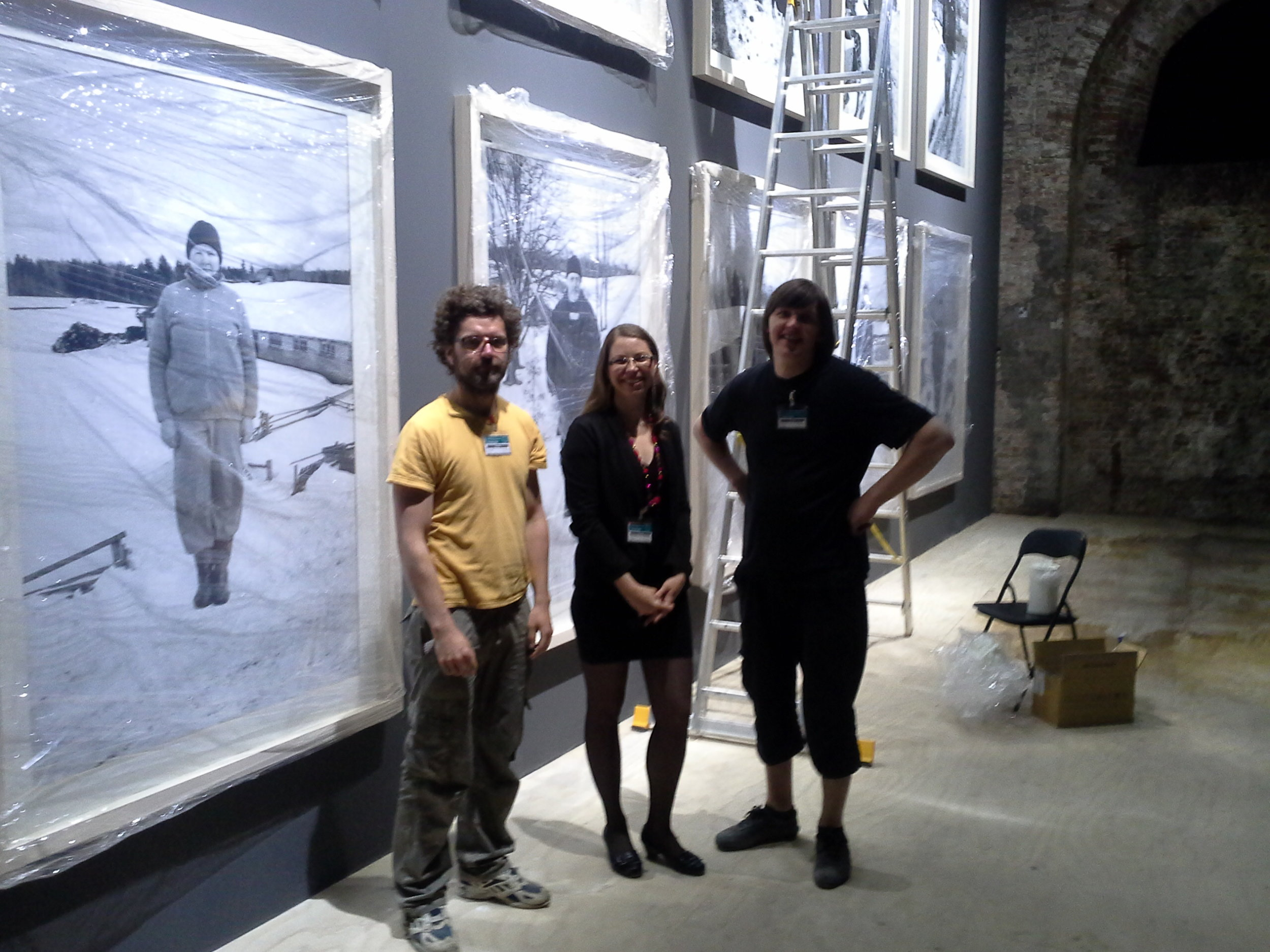 Alise Tifentale (center) with Latvian pavilion artists  Krišs Salmanis  and  Kaspars Podnieks .