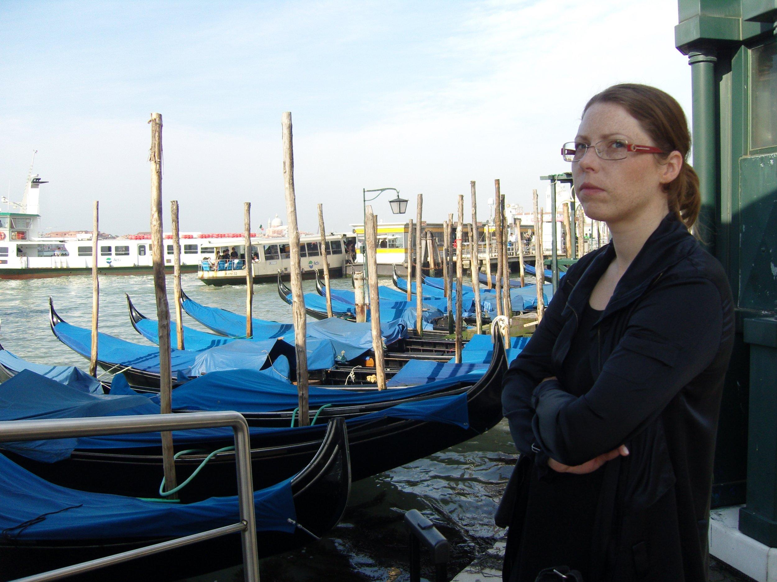 Art critic trying to define the Scandinavian pain while waiting for her water taxi. Photo: © Zenta Dzividzinska.
